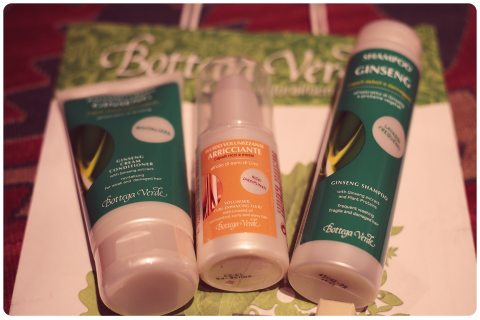 Bottega Verde organic supplies - Ginseng shampoo and conditioner for frequent hair washing (that's me alright) and volumising fluid for curly hair.
