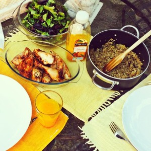 Lunch in the garden at home - grilled chicken, salad and mushroom risotto.